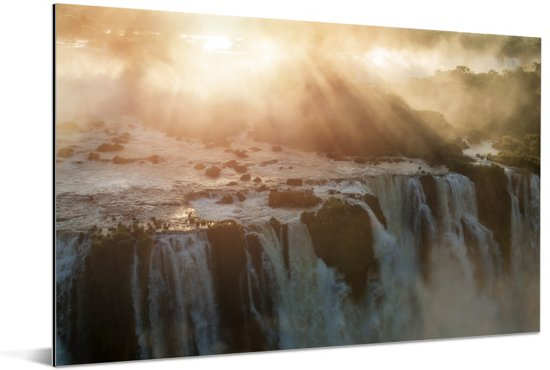 Zonsondergang bij Iguazu waterval in Brazilië Aluminium 30x20 cm - klein - Foto print op Aluminium (metaal wanddecoratie)