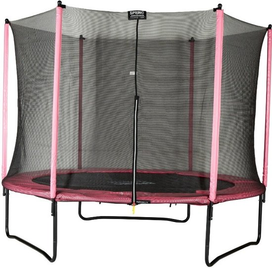 Spring Trampoline 244 cm (8ft) met veiligheidsnet - Black Edition - roze rand