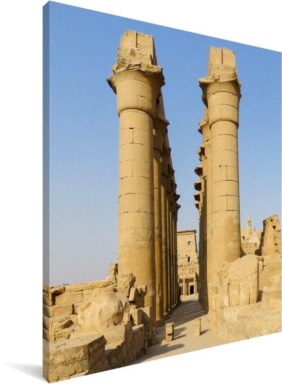 Oude pilaren in het tempelcomplex Karnak in Egypte Canvas 120x160 cm - Foto print op Canvas schilderij (Wanddecoratie woonkamer / slaapkamer) XXL / Groot formaat!
