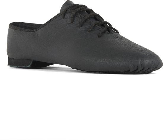Danceschoenen Jazzschoenen 1270 Basic 2 leer, gedeelde zool, Zwart, Maat 31, UK c12.5