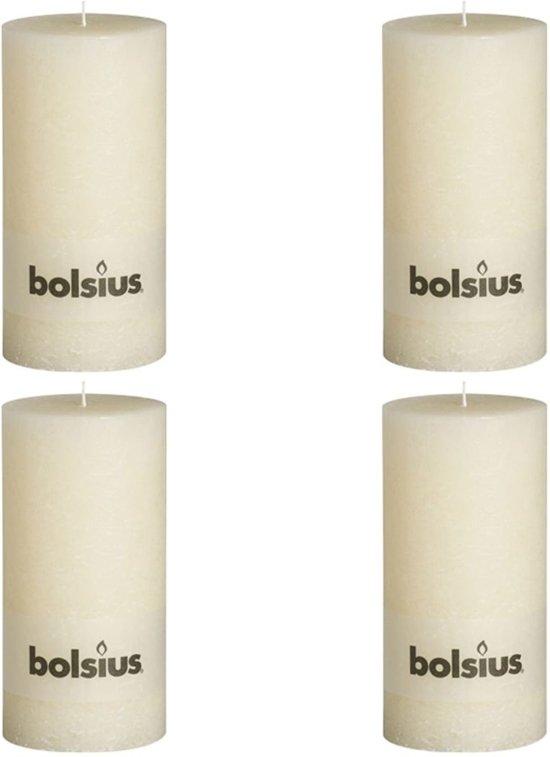 Bolsius Stompkaars  rustiek - Ivoor - H20 cm - 4 stuks