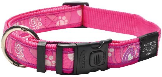 Rogz for dogs armed response halsband voor hond pink paw 25 mmx43-73 cm