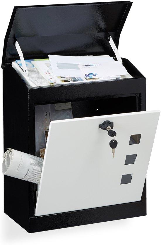relaxdays brievenbus groot veiligheidsklep muurbrievenbus wandbrievenbus mailbox zwart-wit