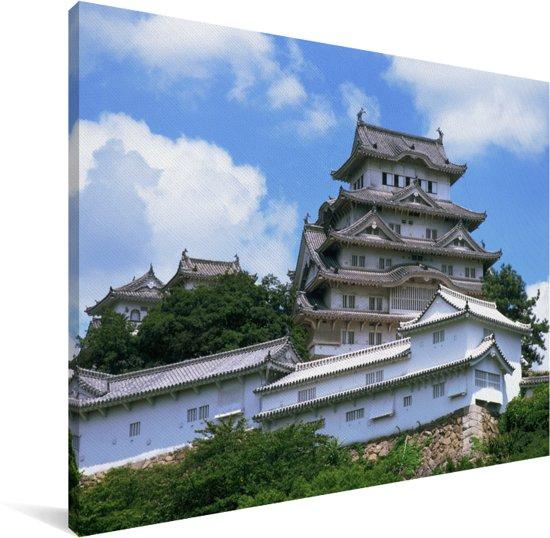 Het Aziatische Himeji kasteel uit de veertiende eeuw Canvas 160x120 cm - Foto print op Canvas schilderij (Wanddecoratie woonkamer / slaapkamer) XXL / Groot formaat!
