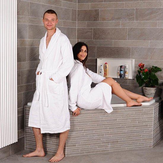aankomen winkel nieuw ontwerp Bamboe Sauna Badjas - Wit - maat S/M - badstof badjas - ochtendjas - duster  - kamerjas - sjaalkraag - dames / heren / unisex
