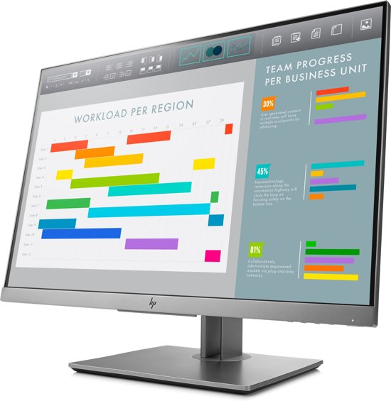 HP EliteDisplay E243i 24'' Full HD LED Zwart, Zilver computer monitor