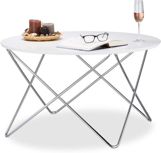 bol.com | relaxdays - bijzettafel rond - koffietafel wit ...