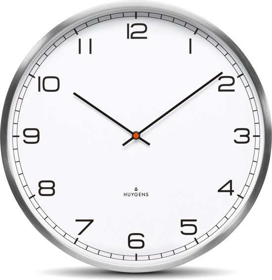 Huygens wall clock one45 stainless steel white arabic
