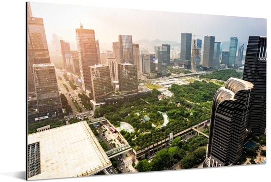 Skyline van het financiële gebied van Shenzhen Aluminium 120x80 cm - Foto print op Aluminium (metaal wanddecoratie)