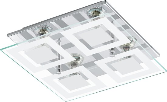 EGLO Almana - Plafonnière - 4 Lichts - Chroom - Wit, Helder