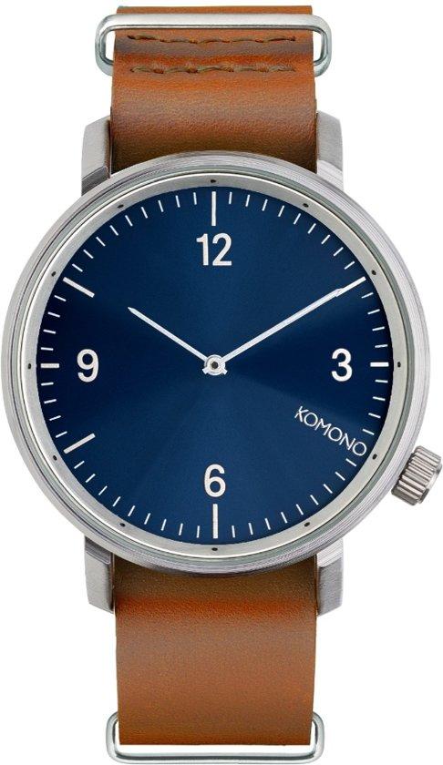 Komono Magnus II Blue Cognac horloge dames en heren - bruin - messing