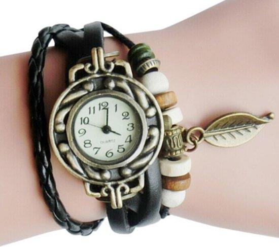 Lederen Quartz Horloge   Retro Armband   Zwart