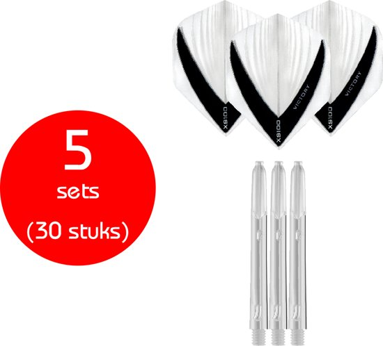 Dragon Darts - 5 sets (30 stuks) - XS edgeglow - darts shafts - inclusief - darts flights - clear