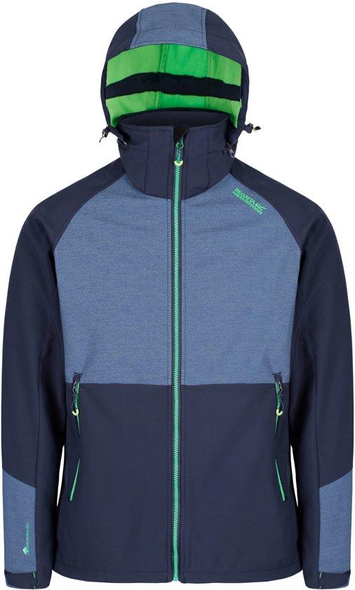 3db842674c1 Regatta Hewits IV Softshell Jas Heren Outdoorjas - Maat L - Mannen -  blauw/groen