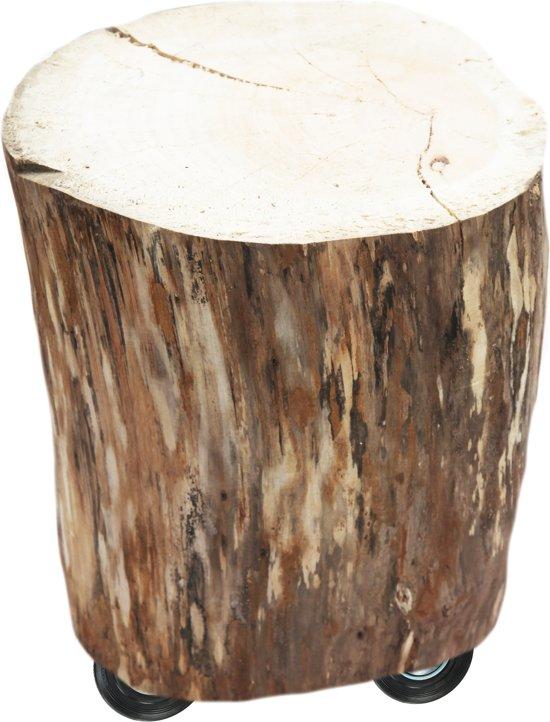 Populair bol.com | Bijzet tafel boomstam , streekhout, op wielen, diameter @OK64