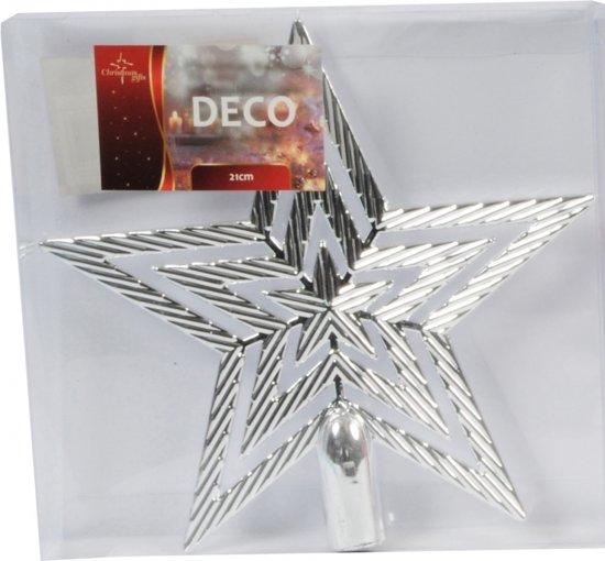 Zilveren kerstboom piek ster 21 cm - kerstboomversiering