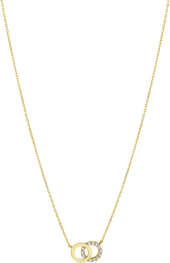 The Jewelry Collection Ketting Zirkonia 0,8 mm 40 + 4 cm - Geelgoud