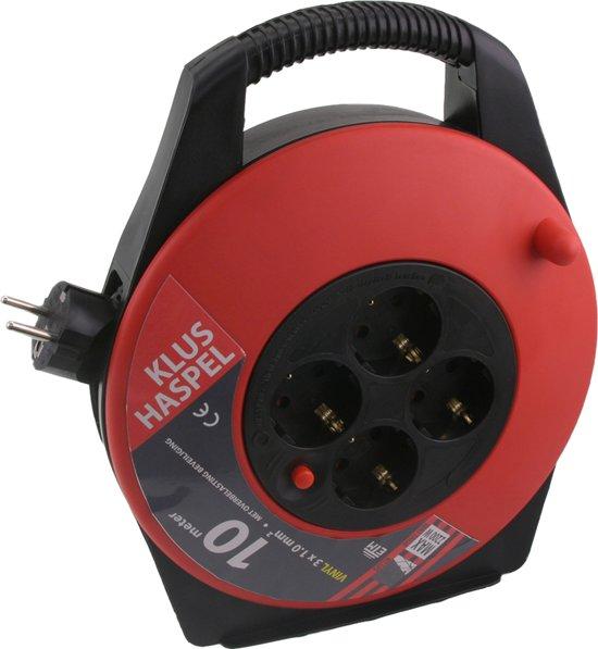 ETM  Kabelbox - 10m met 3 x 1.0 mm2 PVC Snoer - Zwart/Rood