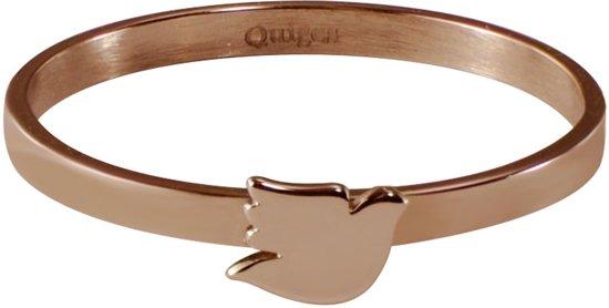Quiges Stapelring Ring - Vulring Duif - Dames - RVS roségoudkleurige - Maat 21 - Hoogte 2mm