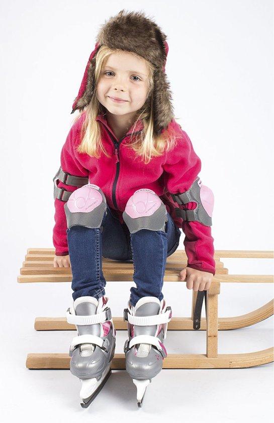Nijdam 3020 Junior Kunstschaats - Verstelbaar - Hardboot - Grijs/Roze - Maat 27-30