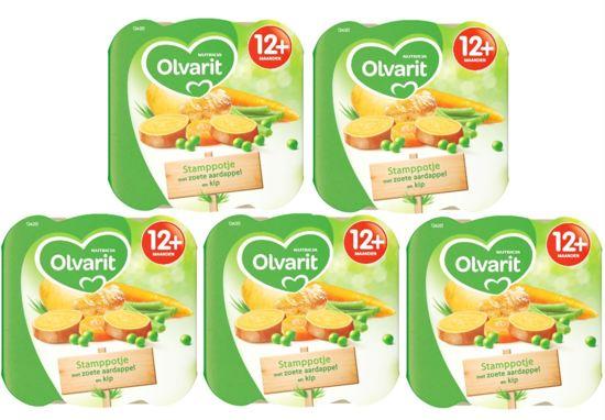 Olvarit Peutermenu 12m203 Stamppotje met kip en zoete aardappel - 5x1358 gram - voordeelverpakking