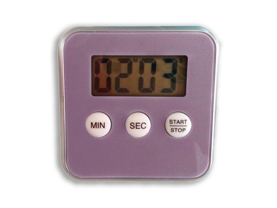 Premium Paarse Magnetische Kookwekker Inclusief Standaard en Gratis Batterij - 8x8cm - Paars | Digitale Kook Wekker