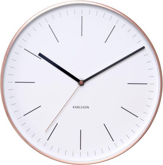 Karlsson minimal white klok rond metaal 27 5 cm koper wit - Moderne klok ...