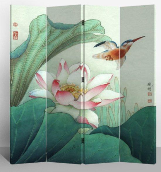 Orientique Kamerscherm 4 Panelen Lotuspond en Vliegende Vogel Canvas Room Divider Scheidingswand
