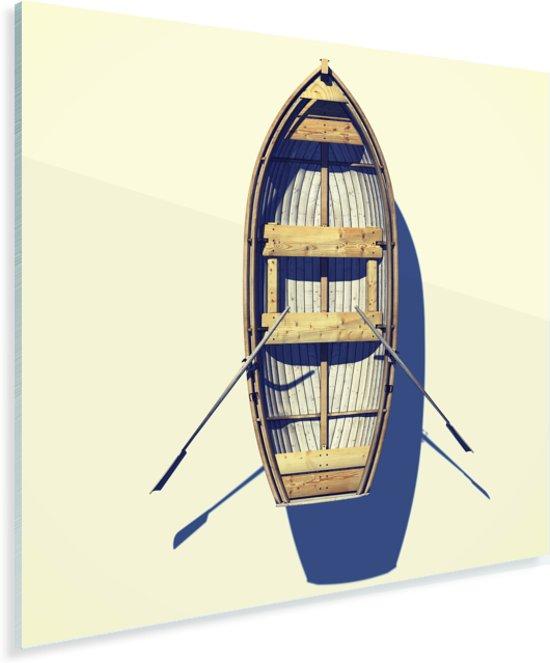 Luchtfoto van roeiboot op het strand Plexiglas 90x90 cm - Foto print op Glas (Plexiglas wanddecoratie)