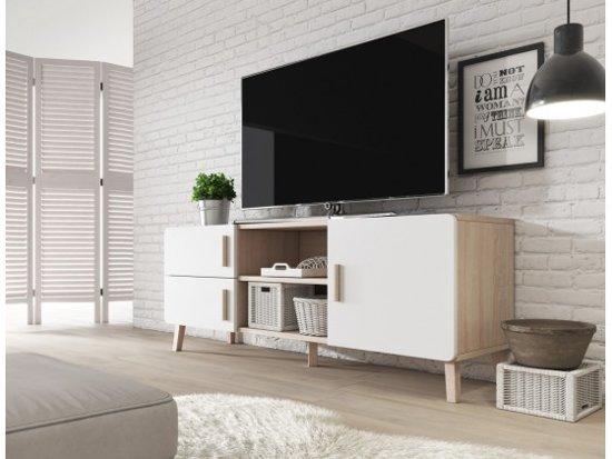 Bol.com meubella tv meubel orlando wit licht eiken 150 cm