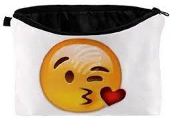 Emoji -Emoticon - Smiley - etui- groot - toilettas.