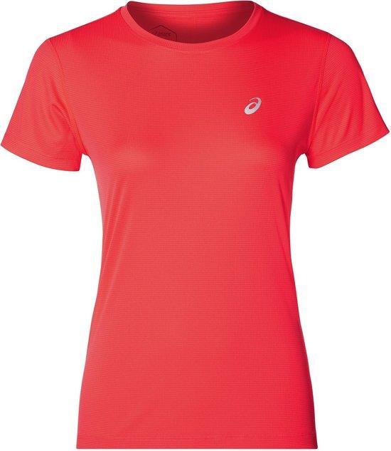 Asics Silver Ss Top Sportshirt Dames - Flash Coral - Maat L