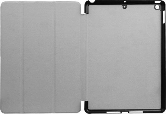 Let op type!!  iPad 9.7 inch 2017 Ogen patroon en kruis structuur PU leren Flip Hoesje met drievouws houder