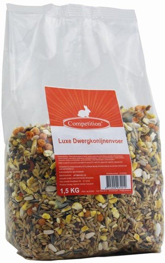 Competition Luxe Dwergkonijnenvoer - Konijn - Volledig droogvoer - 4 x 1,5 kg