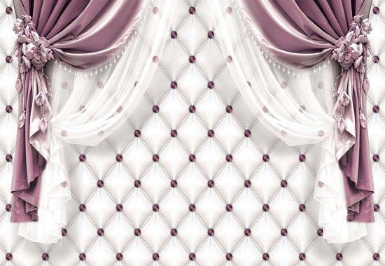 Fotobehang Pink Curtains | L - 152.5cm x 104cm | 130g/m2 Vlies