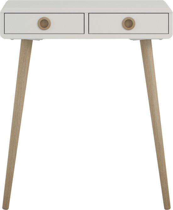 Witte Sidetable Met Twee Lades.Sofus Sidetable Met 2 Lades Wit Gelakt Eiken Onderstel En Handgreep