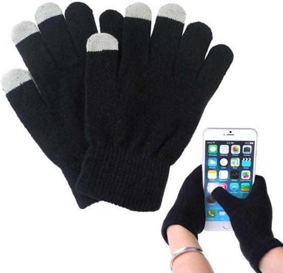 Touchscreen handschoenen - Smartphone Handschoenen -  Smarttoucher one-size-fits all - 2st - Zwart