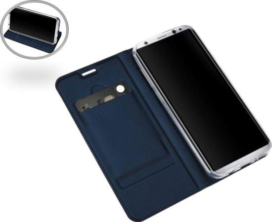 Samsung Galaxy S7 Edge Leren Portemonnee Hoesje Blauw Lederen Wallet Case TPU met Magneetsluiting Book Case Flip Cover Klap 360 beschermend