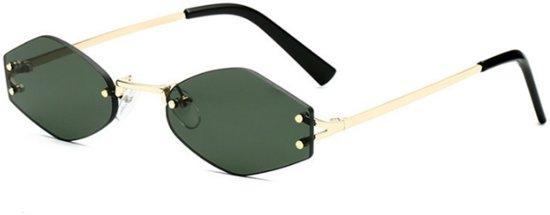 Dames Zonnebril – Groene Hexagon Glazen – Randloos
