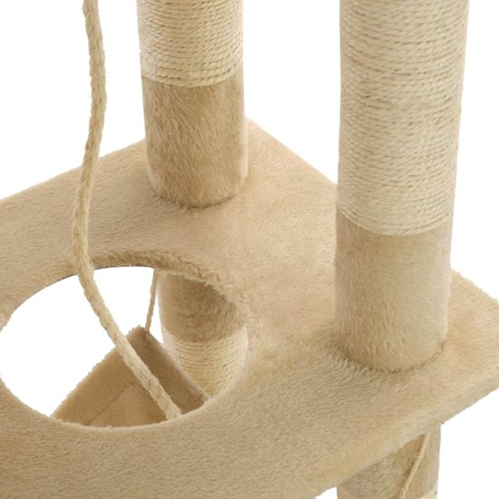 vidaXL Kattenkrabpaal met sisal krabpalen 140 cm beige