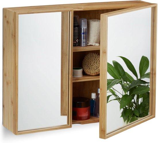 bol.com | relaxdays spiegelkast badkamer - twee deuren - spiegel ...