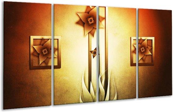 Glasschilderij Bloem   Geel, Bruin, Wit   160x80cm 4Luik   Foto print op Glas    F004131