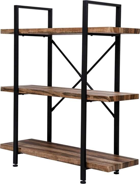 Wandkast Zwart Metaal Hout.Wandkast Stoer Metaal Hout Industrieel Design Open Boekenkast 101 Cm Hoog Zwart
