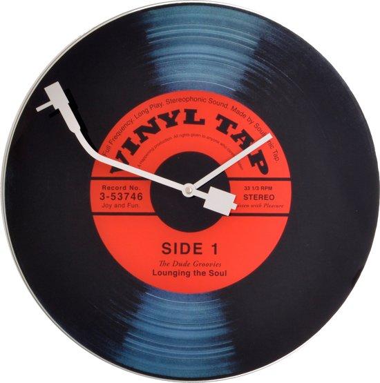 NeXtime Vinyl LP - Klok - Stil Uurwerk - Rond - Glas - Ø43 cm - Zwart/Rood