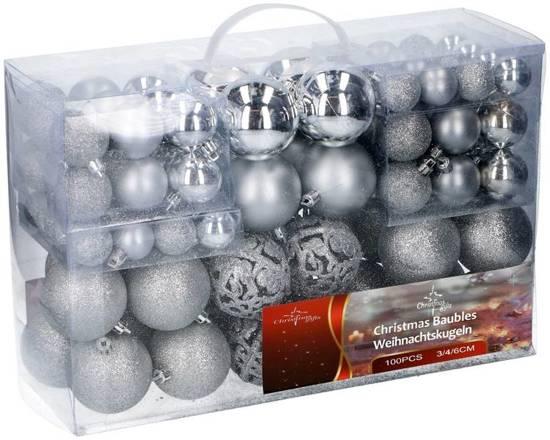Kerstballen set - 100 ballen - Plastic / Kunststof | Zilver