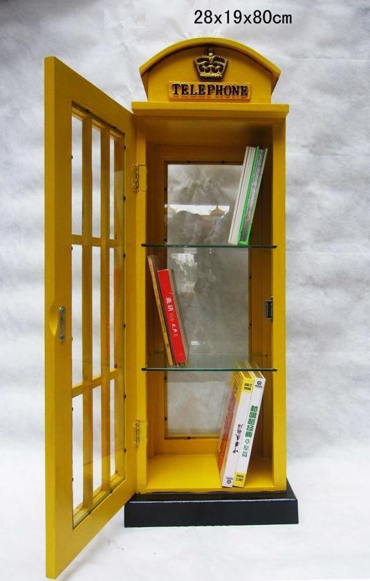 Goede bol.com   Vitrinekast Engelse telefooncel vintage retro geel QE-44