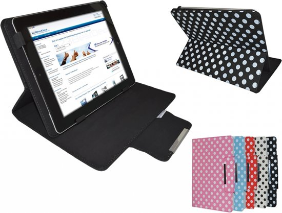 Polkadot Hoes voor de Prestigio MultiPad 10.1 Ultimate 3g, Diamond Class Cover met Multi-stand, Zwart, merk i12Cover in Fraire