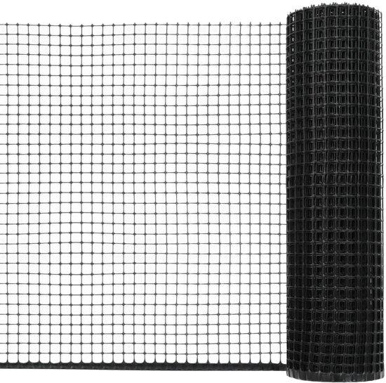 Tuinhek met Draden 30x0.6m Zwart HDPE - Bedraad Tuinhek - Omheiningssysteem Wildhek verzinkt -