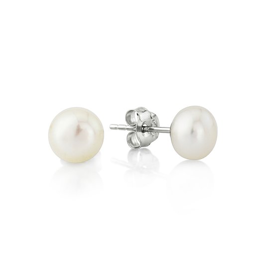 Velini jewels -EA5207W -Oorbellen -925 Zilver gerodineerd -7 MM Parel