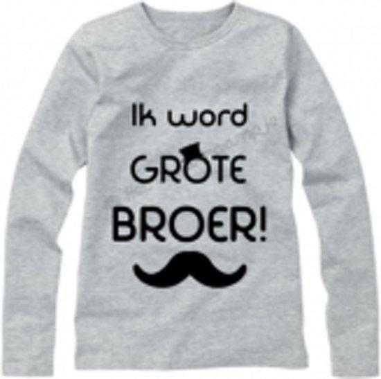 Favoriete bol.com   Grijs shirt lange mouw maat 86/92 - Ik word grote broer @OK64